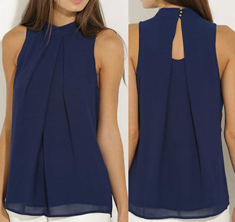 Fashion Women  Chiffon Blouses  Summer Top Sleeveless Shirt Casual Tops  blusas mujer de moda 2019 Рубашка