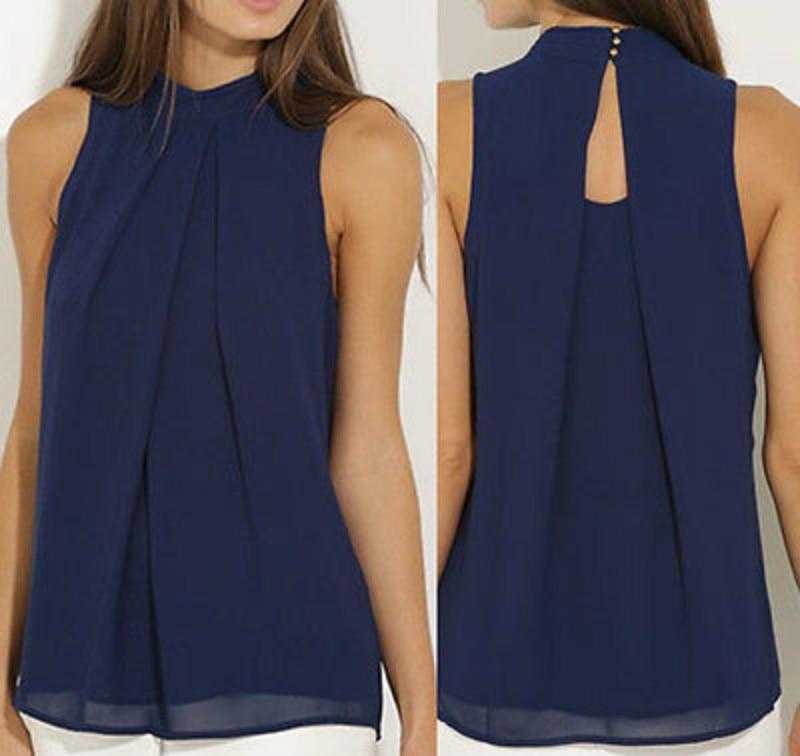 Fashion Women  Chiffon Blouses  Summer Top Sleeveless Shirt Casual Tops  Blusas Mujer De Moda 2019
