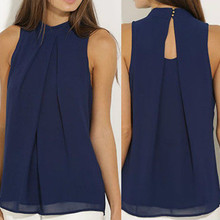 Fashion Women Chiffon Blouses Summer Top Sleeveless