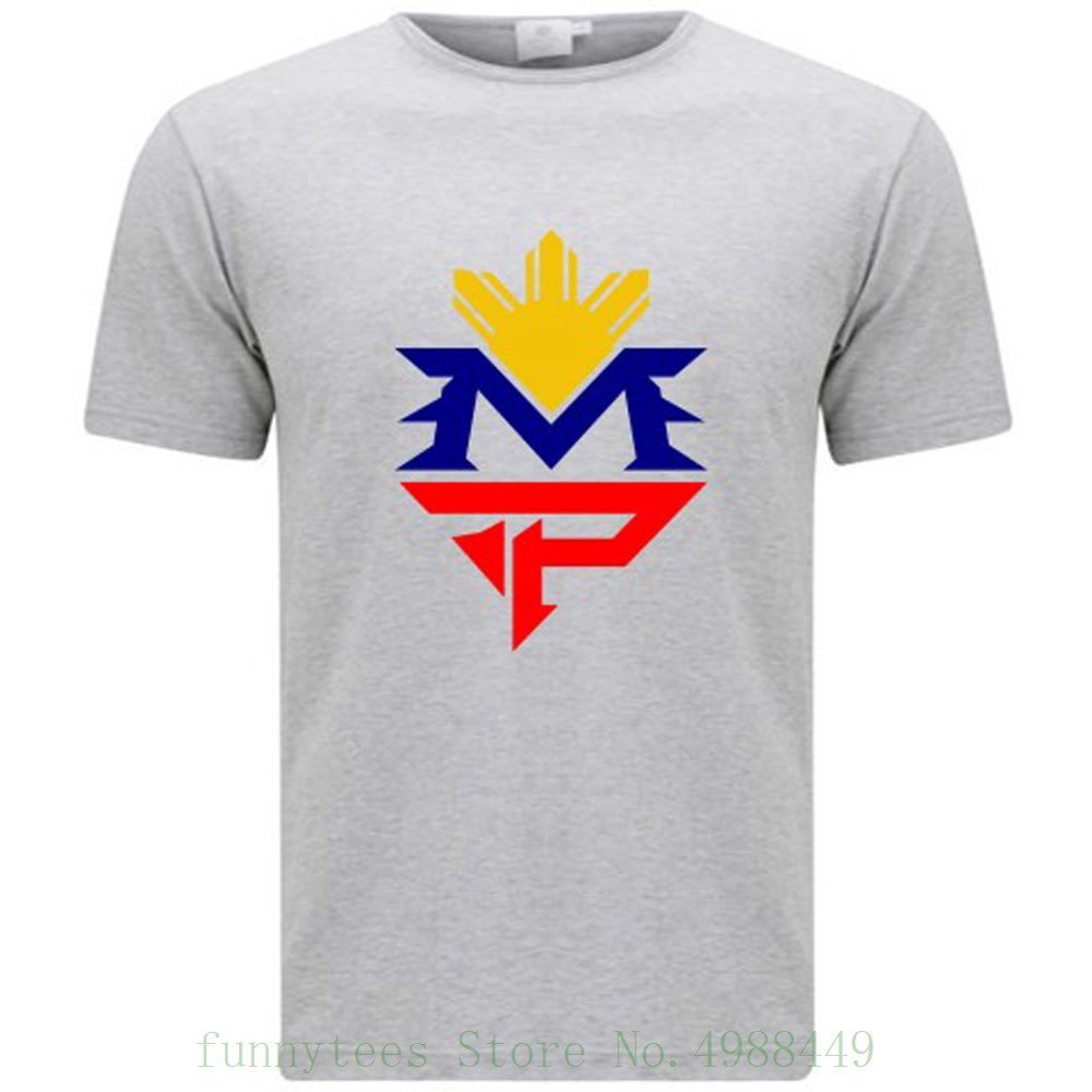 Manny Pacquiao Logo Pacman Pinoy Boxer Champ Men's Grey T Shirt Size S - 3xl Normal Boy Cotton T Shirts image