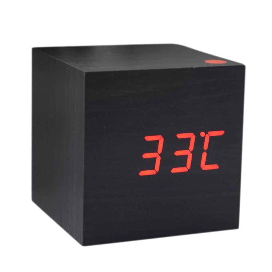 Wood Cube LED Alarm Control Digital Desk Clock Wooden Style Room Temperature Black wood red led