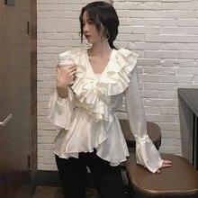 Ruffles 2019 autumn long sleeve Elegant V Neck Satin blouses Tops Women Sexy tops neck shirts