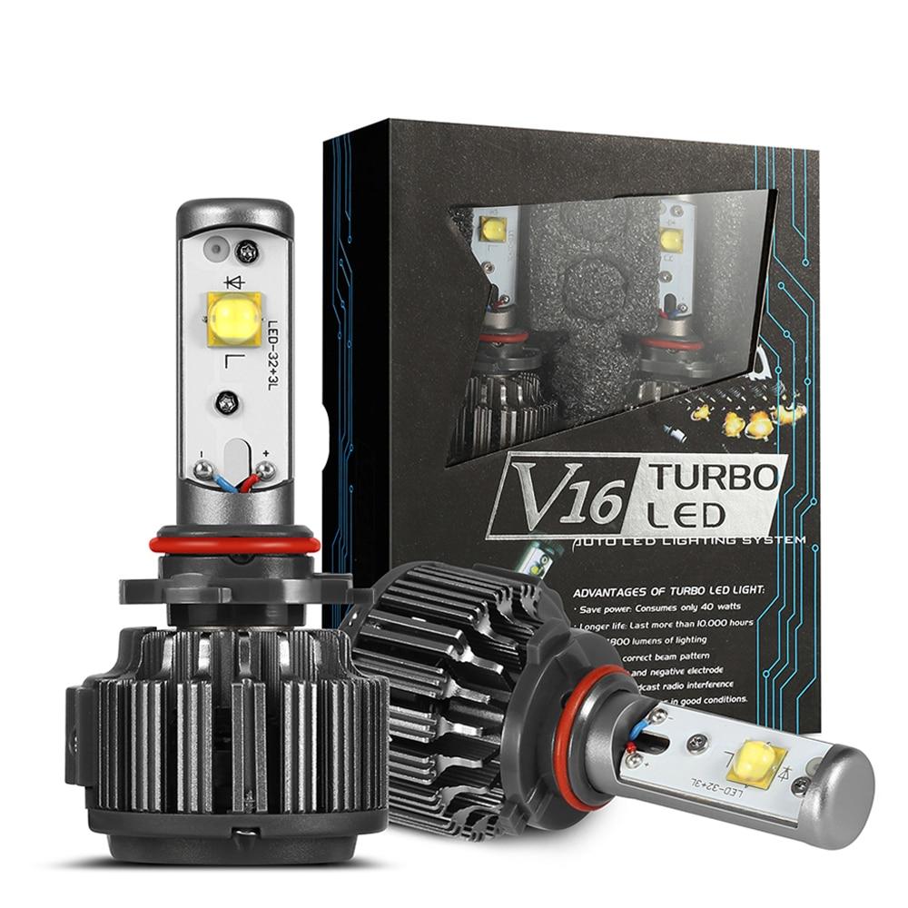Авто светодио дный фары H7 H8 H9 H11 9005 9006 кри 40 Вт V16 Turbo светодио дный лампы Авто 4000LM 3600lm светодио дный руководитель работы свет фар комплект