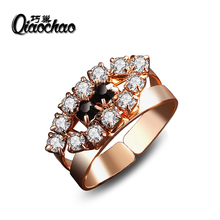 Luxury Cocktail Austrian Crystal Ring Gold PlatedColor Fashion Brand Retro Jewelry For Women anel aneis Wholesale