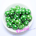 Free Shipping 100PCS/Lot Green 20MM Resin Polka Dot Beads, Resin Round Chunky Beads for Chunky Necklace Jewelry