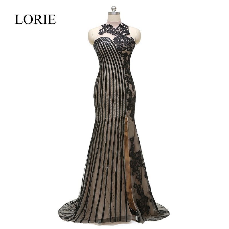 LORIE Black Evening Gowns 2018 High Neck Vintage Lace Applique Mermaid Long Prom Dresses Elegant Women Formal Party Dress