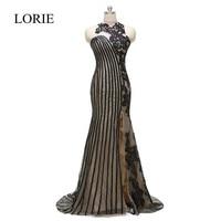 LORIE Black Evening Gowns 2018 High Neck Vintage Lace Applique Mermaid Long Prom Dresses Elegant Women Formal Party Dress