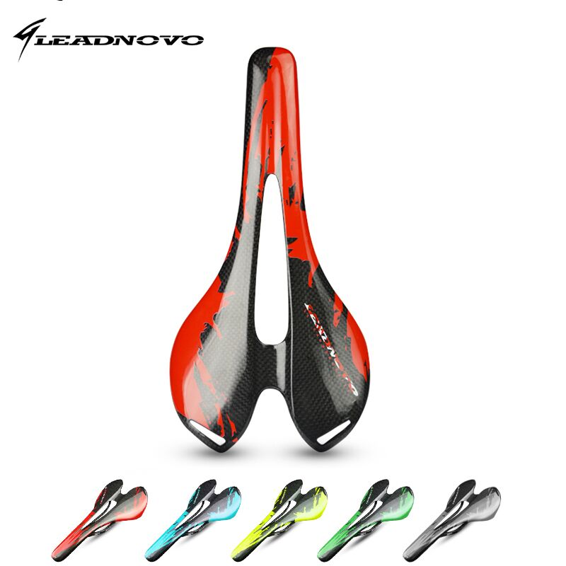LEADNOVO hollow design carbon saddle 3K glossy/matte full Carbon Fiber Bicycle Saddle Bike <font><b>Seat</b></font> super light cycling bike parts