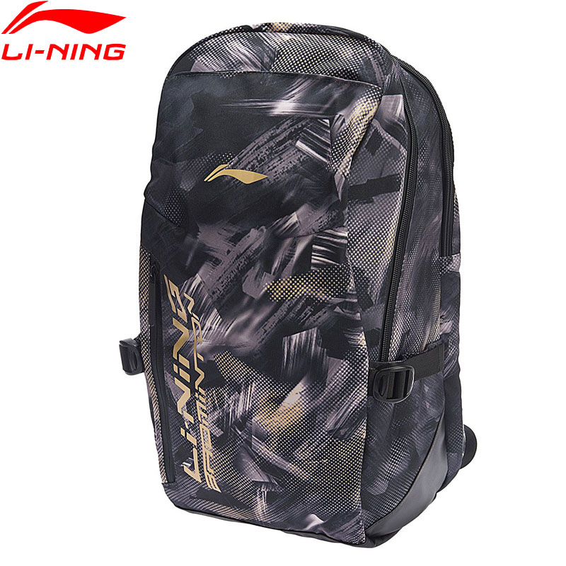 Li Ning Men Badminton Series Backpack Training Polyester 25L Shoe Pocket LiNing Sports Backpack ABSN296 ZYF323