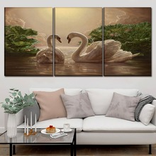 Canvas HD Prints Painting Modern Wall Art Decor Framework 3 Pieces Animal Swan Poster For Living Room Home Modular Picture