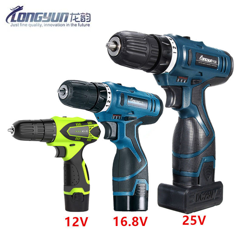 12V 16.8V 25V Volt Multifunctional Screwdriver Battery Home Cordless Drill Electric Screwdriver Wrench Power Tools
