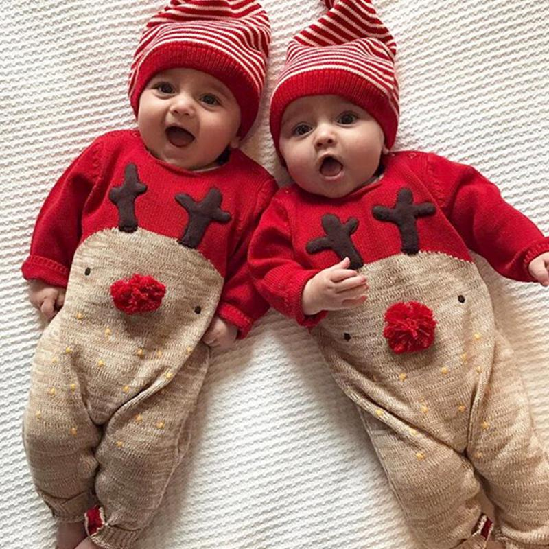 2018 New Year baby cute Romper With a hat Coffee dot Cross embroidery Climbing clothes children suit