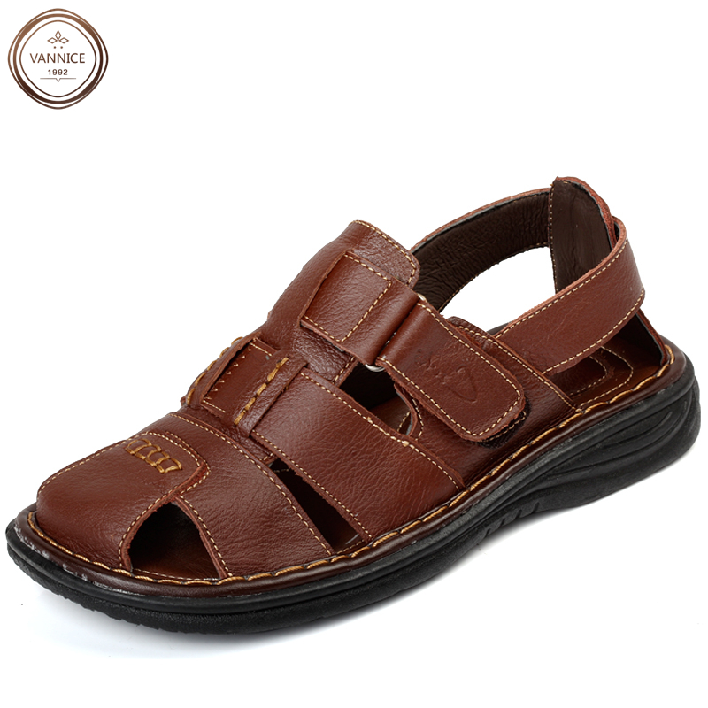 New 2016 mens fashion casual genuine leather sandals ...