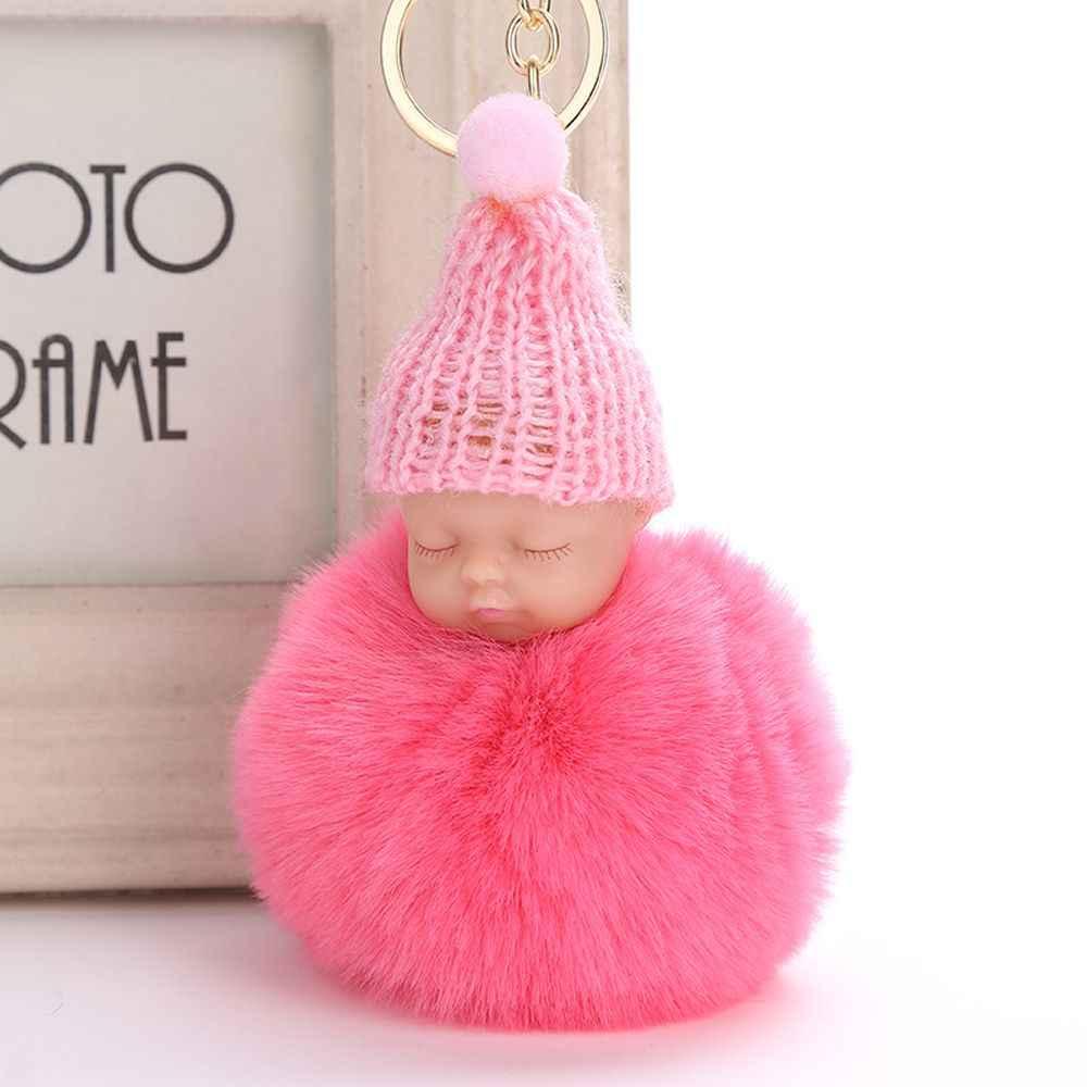 1Pcs Bonito do Sono Do Bebê Boneca Chaveiro Chaveiro de Carro Bola de Pêlo de Coelho Pompom Mulheres Titular da Chave Chave da Cadeia de Brinquedo Do Bebê saco de Jóias Pingente