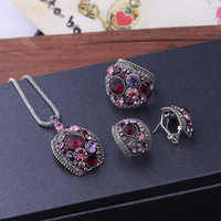 Sellsets Schmuck Antike Gold/Silber Farbe Vintage Schmuck Sets Grün Kristall Halskette Bolzen Ohrringe Und Ring Set Für Frauen