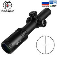 FIRE WOLF 1-4X24E Riflescopes Hunting Red Dot  Scopes Compact Rifle Scope Illuminated Reticle  w/ Mounts For AR15 AK