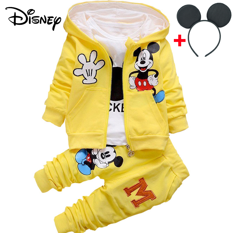 Clothing Sets Hard-Working Disney Mickey Newborn Baby Girl Clothes Spring Autumn Polka Dot Long Sleeved T-shirt Pants Outfit Kids Bebes Tracksuits Jogging Boys' Clothing