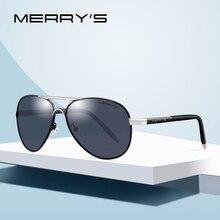 MERRYS gafas de sol clásicas de piloto para hombre, lentes de sol de aluminio polarizadas HD, gafas de conducción, de lujo, UV400 S8513