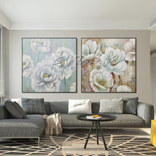 Abstract White Gold Green Flower Leaf Painting Acrylic Wall Art Picture Canvas Hand painted for living room Home Decoracion