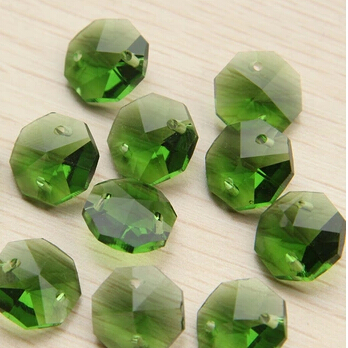 Honesty 100pcs/lot 14mm Green Octagon Crystal Prism Beads In 2 Holes For Garland Strand &chandelier Lamp Free Shipping. Lights & Lighting