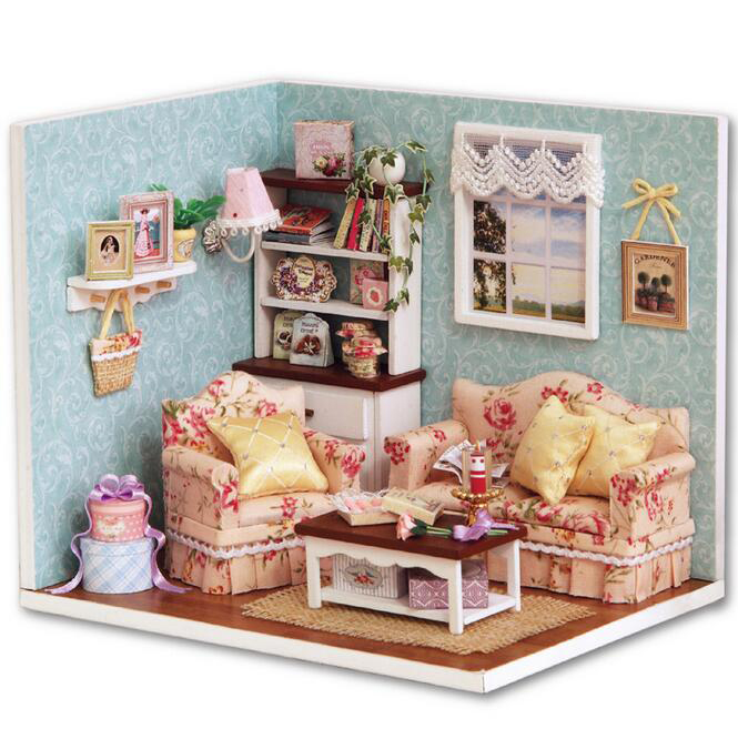 24th DIY Wooden Dolls house Miniature Handcraft Kit--Cute bedroom Model & Furniture engl ...