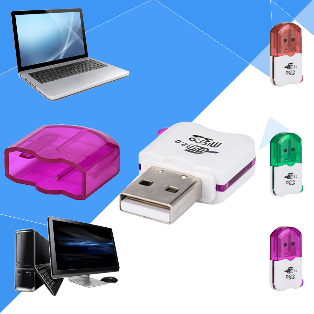 Cool Single Card Reader Adapter Mini TF T-Flash Memory Card Reader USB2.0 High-speed 3 Colors l1026#2