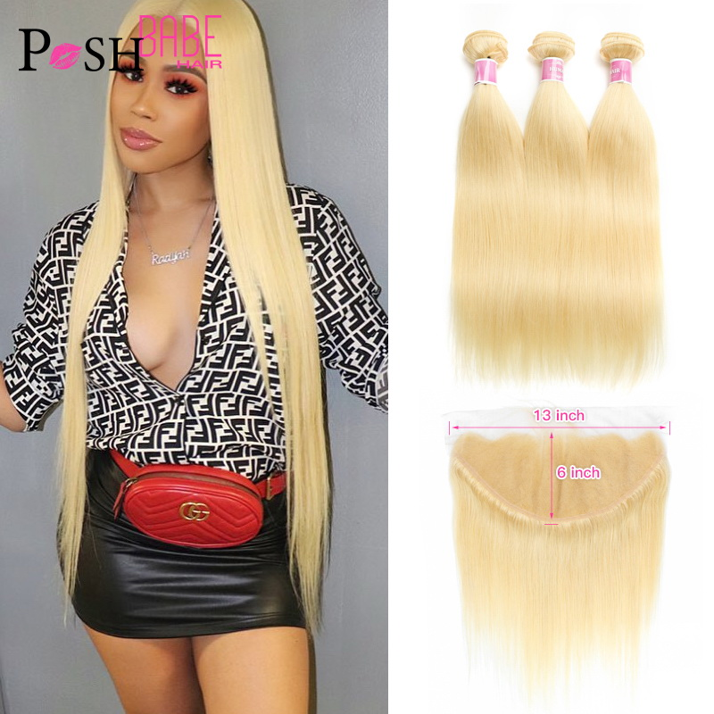 613 Bundle With Frontal Honey Blonde Colored 13x6 Lace Frontal With Straight Human Hair Extensions 2 3 4 Brazilian Hair Bundles