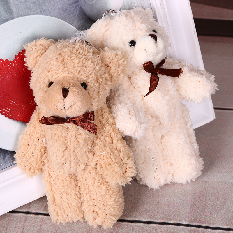 13 Cm Pp Cotton Plush Toy Curly Joint Bear Animal Stuffed Plush Doll Bow Tie Teddy Bear Pendant Cartoon Girl Kids Toy For Gift
