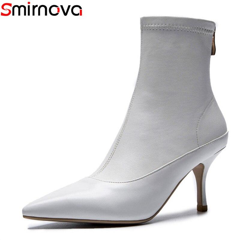 Smirnova 卸売 2018 ホットファッションの女性のブーツ黒、白ポインテッドトゥ本革女性のセクシーなドレスシューズ  グループ上の 靴 からの アンクルブーツ の中 1