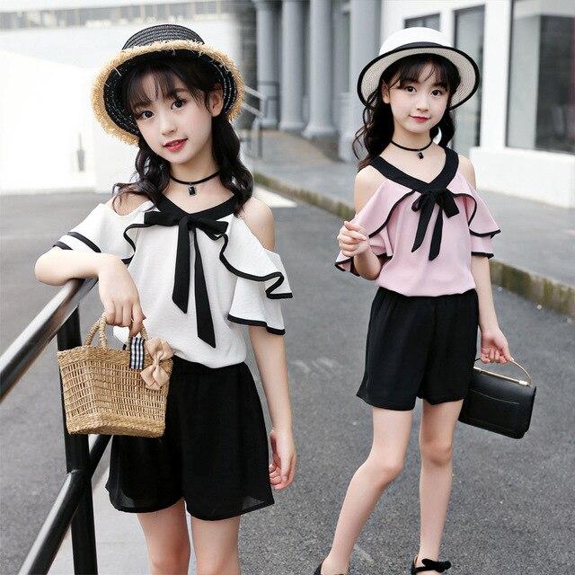 c03c5740a015 2018 New Summer Chiffon Short-sleeved Jacket and Shorts Set Children's Korean  Version Fashion T-shirt + Pant 2 Pieces Set