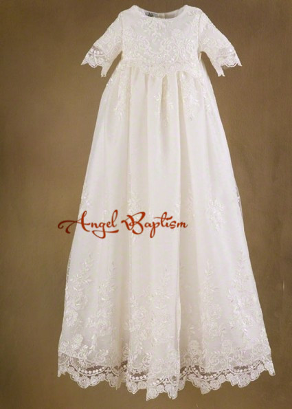 2016 Full Sleeves A-Line White/Ivory Satin Lace Baptism Rope Christening Dress Baby Girls Boys Infant Newborn Gowns With Bonnet