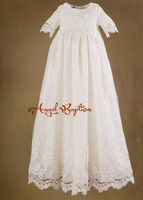 Full Sleeves A Line White/Ivory Satin Lace Baptism Rope Christening Dress Baby Girls Boys Infant Newborn Gowns With Bonnet