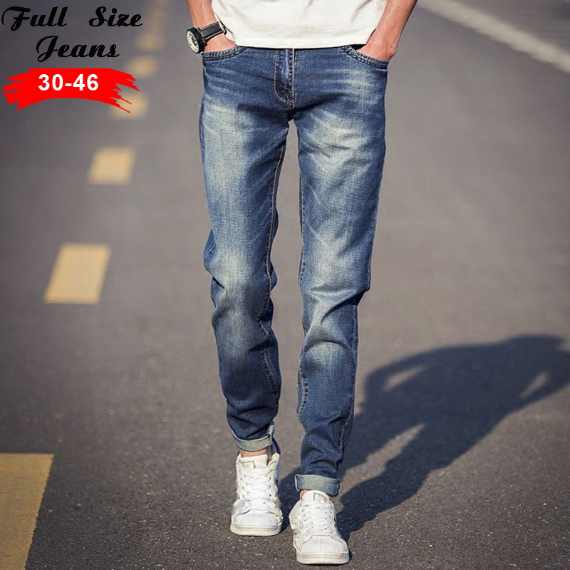 ФОТО 2016 Plus Size Light Blue Tapered Jeans Men 4XL 5xl 36 38 Slim Fit Denim Jeans Casual Jean Big Size Pencil Pants