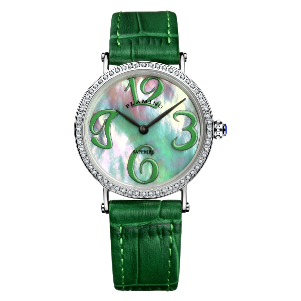 ФОТО FLAMING GAGA Series High Quality 2 Models Miyota Quartz Watches Women Wristwatches Dress Watch with Shell Dial and Crystal Gifts