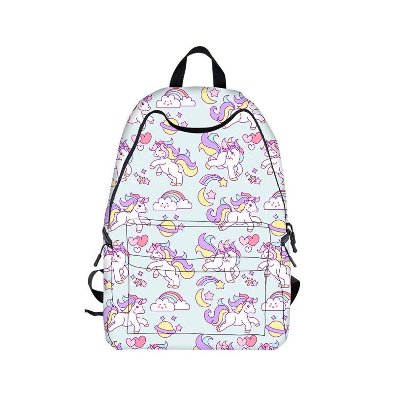 Kawaii Unicorn Backpack Rainbow Pony Horse Children School Bags Backpack for Teenager Girls Book Bag Women Knapsack Daypack