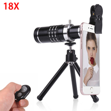 Sale Cell Phone Lens Kit 18X Optical Telescope Lens Telephoto Zoom Lentes For iPhone 6 6S 7 8 Plus With Tripod Clip Bluetooth shutter