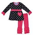 Conjuntos de Roupas de primavera Meninas Polka Dots Coração Em Forma de Luva Cheia Top Plissado Calças de Algodão Barato Crianças Valentine Roupas V011