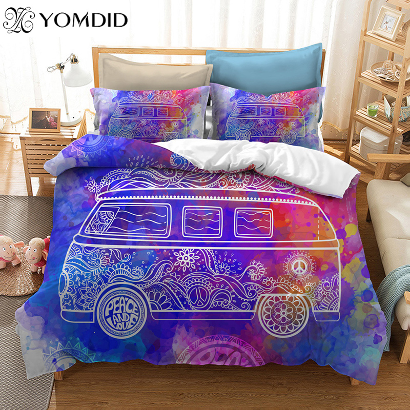 23pcs 3D Bedding Set Geometric Hippie Peace Symbol Car Duvet Cover Pillowcase AUUSEU SingleDoubleQueenKing Duvet Cover Set