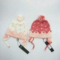 Dziewczyny Zima Dzieci Kapelusze Cap Dziecko Dzieci Dziewczyna Z Czapka Z Dzianiny Wzór Kwiatowy Aplikacja Toddler Crochet Ciepłe Utrzymać Czapki 1-7Y