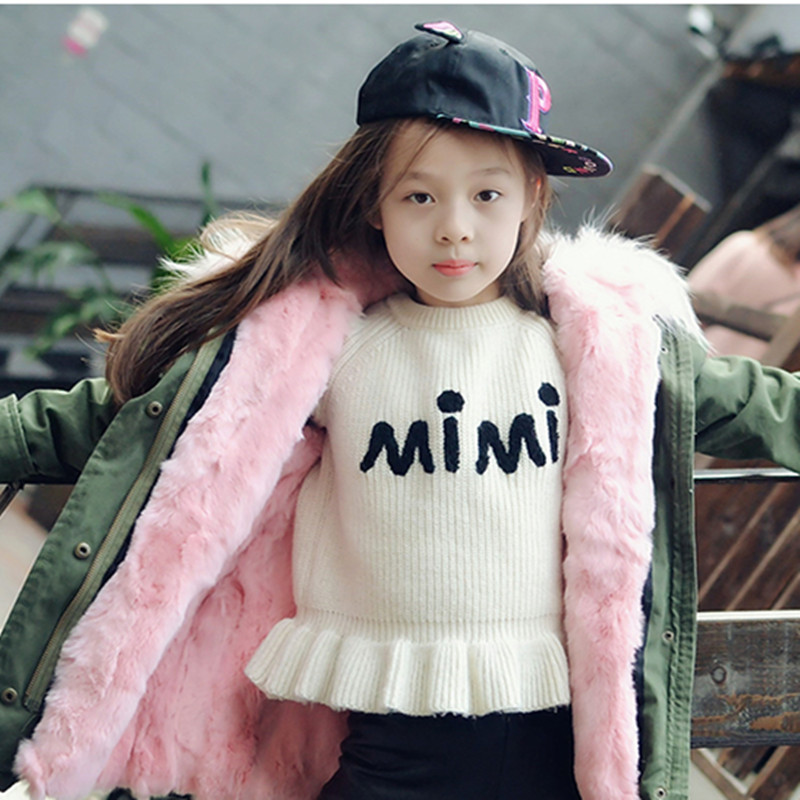 Winter Kids Parkas Children's Natural Rabbit Fur Winter Warm Baby Outerwear Coat Raccoon Fur Collar Baby Clothes D0360 2017 winter new clothes to overcome the coat of women in the long reed rabbit hair fur fur coat fox raccoon fur collar