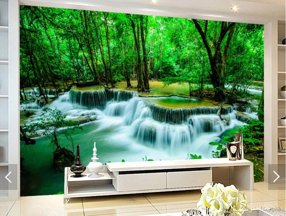 Nature Forest Waterfall Wallpaper Murals Wall Paper Wall Art Painting Canvas Papel Pintado 3d Foggy Forests Mural  Contact Paper
