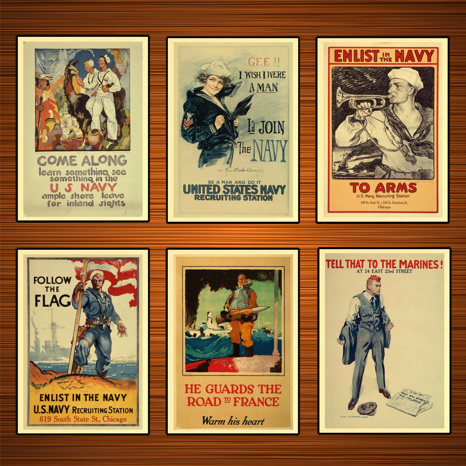 Vintage 1910s USA WW1 Propaganda Poster Enlist in The Navy Classic Canvas Paintings Wall Stickers Home Decor Gift image