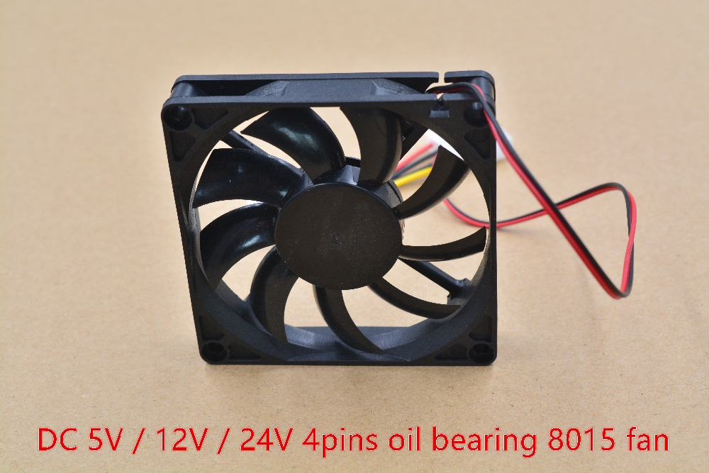 3d printer fan 8015 fan 4pins 80mm 80mmx80mmx15mm 8cm graphics card fan DC 5V / 12V 1pcs original delta aub0812vhb 8015 8cm 80mm dc 12v 0 30a slim chassis power supply cooling fans cooler