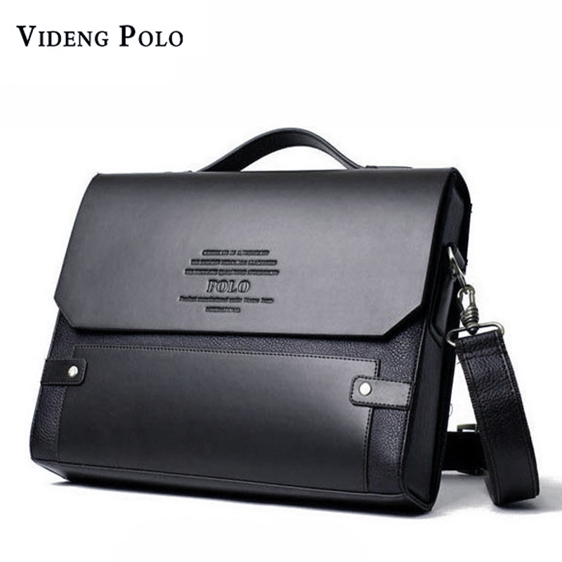 VIDENG POLO Brand Leather Messenger Bags For Men Shoulder Bag Business Briefcase Bag Fashion Rivet Hard Leather Male Handbag