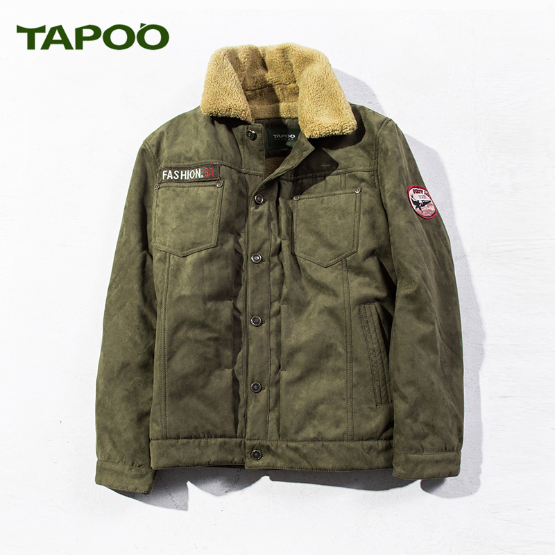 Bombe Windbreakers Jean Men Jackets New 2017 Autumn Winter Denim Piolt Coat Clothing Tactical Army Militare Male Fur collar
