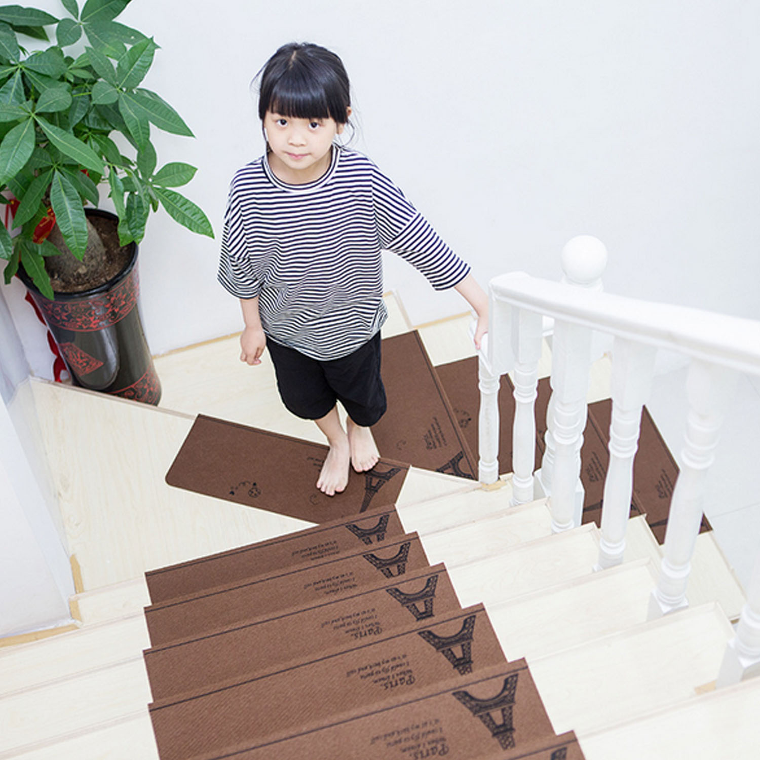 13pcs Anti Slip Self Adhesive Coffee Beige Indoor Safety Stair Step Treads Floor Mats Carpet Staircase Pad Area Rug Protector