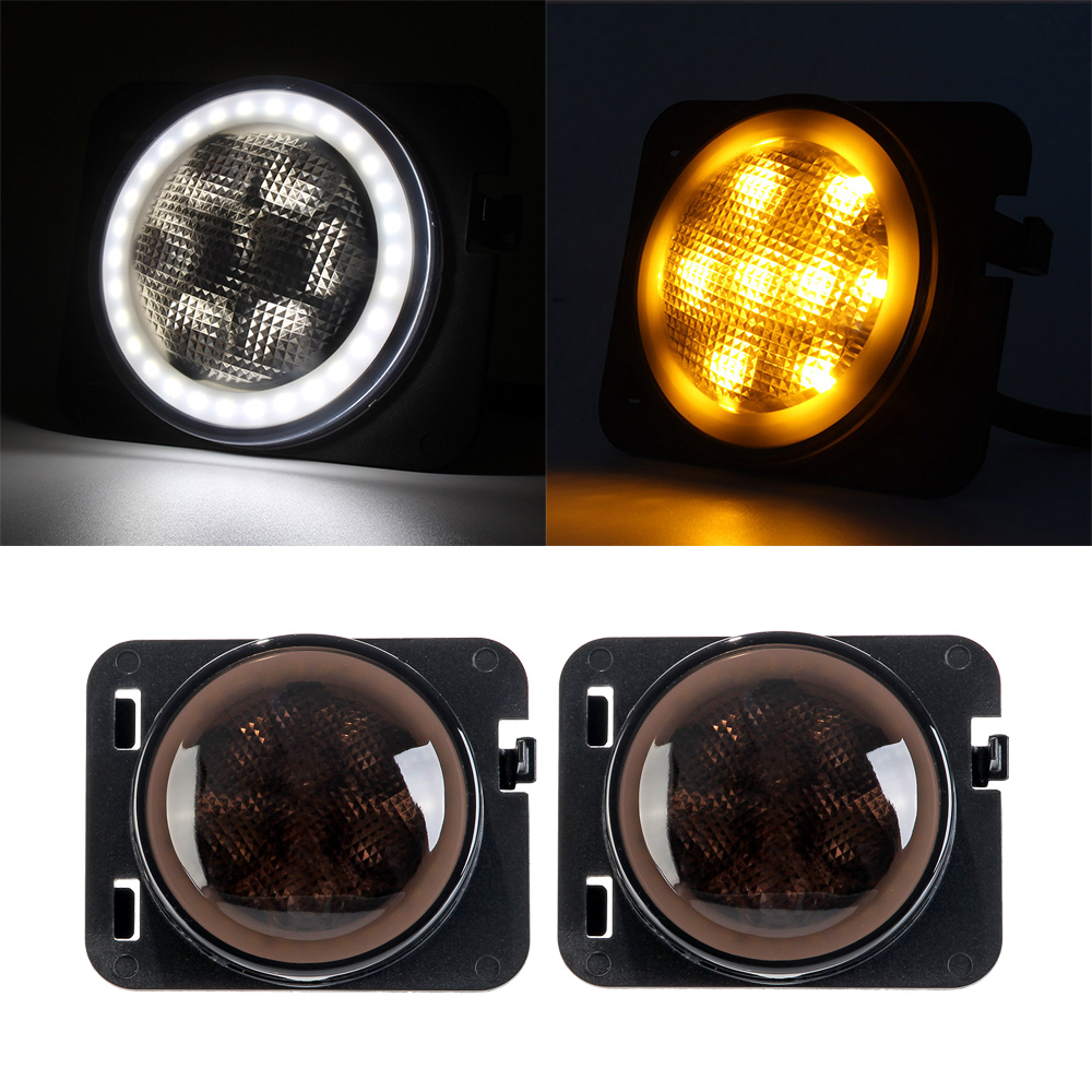 NOVSIGHT 2pcs/set Front Fender Side Marker LED Light DRL Smoke Lens Turn signal Yellow DRL White for Jeep Wrangler JK 07-15 D30 4pcs black led front fender flares turn signal light car led side marker lamp for jeep wrangler jk 2007 2015 amber accessories