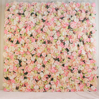 2M x 2M Top quality hot pink very dense artifical silk roses wedding flower wall flower backdrop Wedding decoration