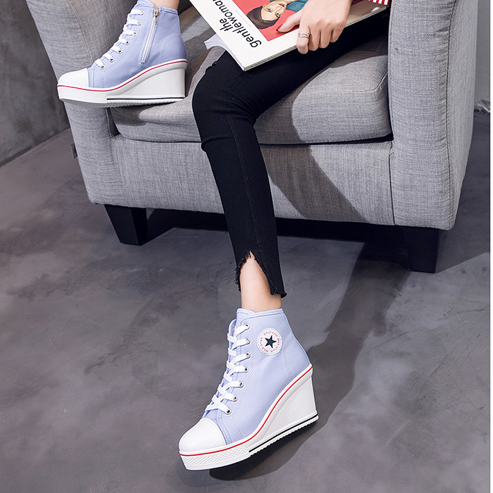 10a325cfcfd US $28.58 30% OFF|2019 Fashion Women Shoes Wedge Sneakers High Top Platform  Shoes Woman Female Casual Elevator High Heels Canvas Shoes Plus Size-in ...