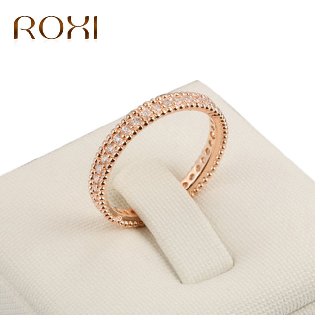 ROXI Round Band Engagement Rings Cubic Zirconia Ring Champagne Gold Color Ring F